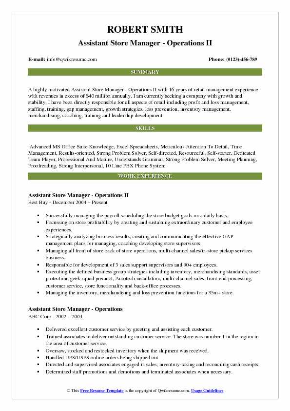 Assistant Store Manager - Operations II Resume Example