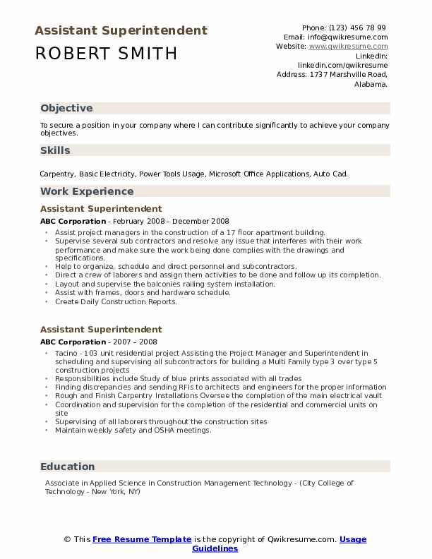 Assistant Superintendent Resume Format