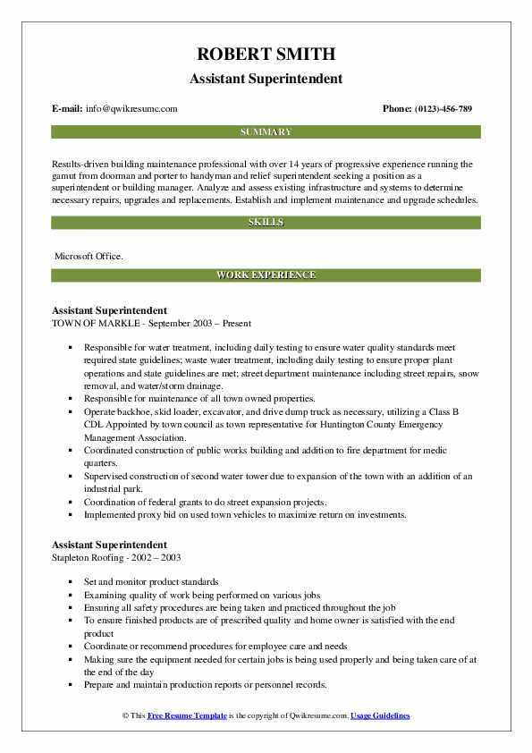 Assistant Superintendent Resume Example