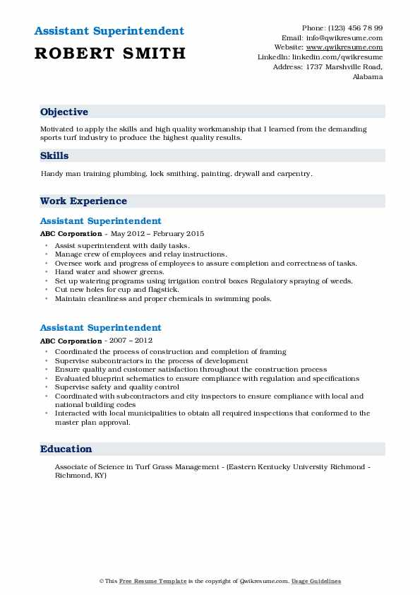 Assistant Superintendent Resume Sample