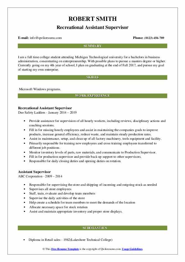 Recreational Assistant Supervisor Resume Example