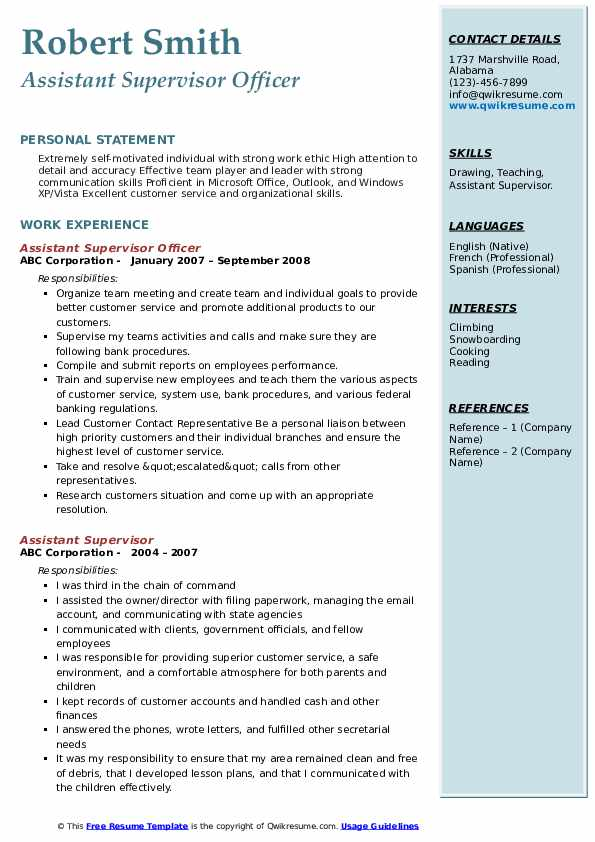Assistant Supervisor Officer Resume Example
