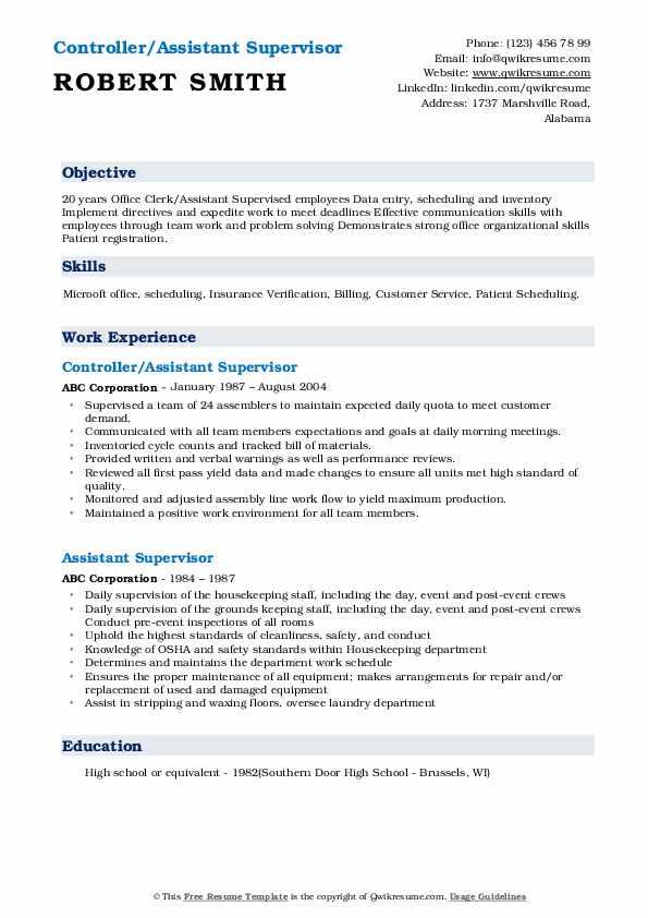 Controller/Assistant Supervisor Resume Model
