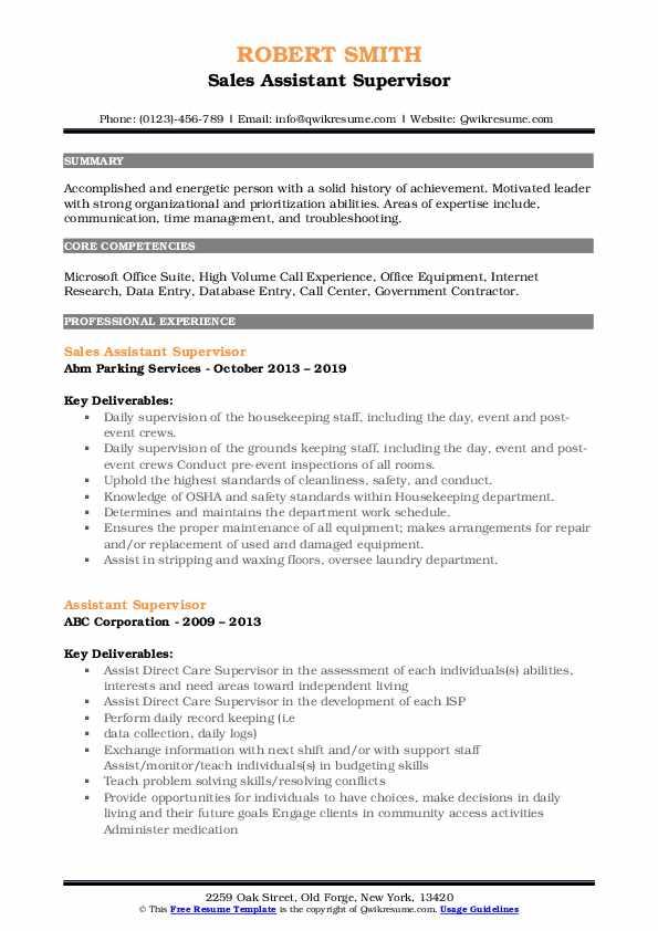 Sales Assistant Supervisor Resume Format