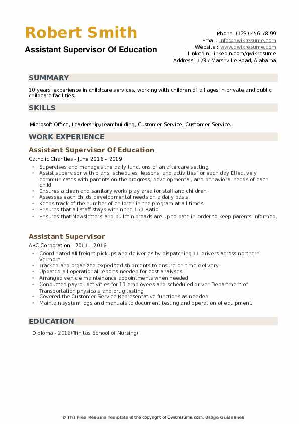 Assistant Supervisor Of Education Resume Sample