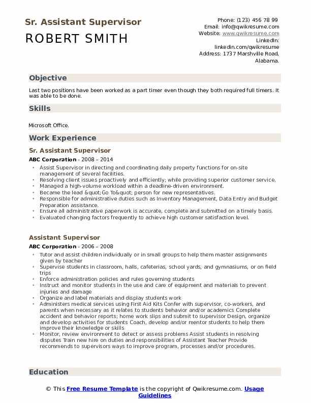 Sr. Assistant Supervisor Resume Sample