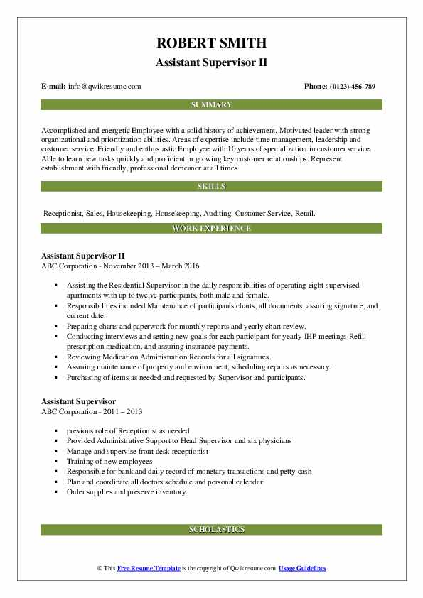 Assistant Supervisor II Resume Example