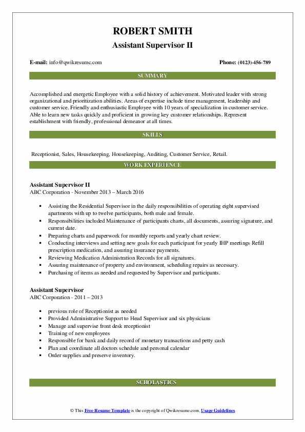 Assistant Supervisor II Resume Model