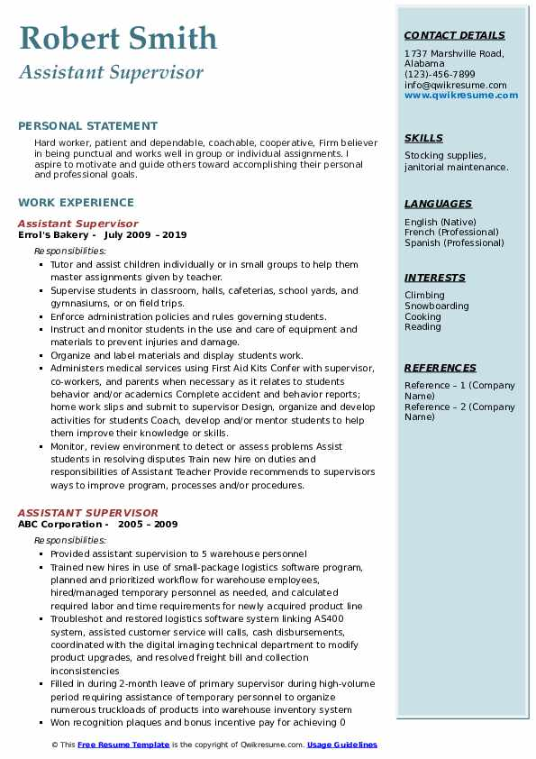 Assistant Supervisor Resume example