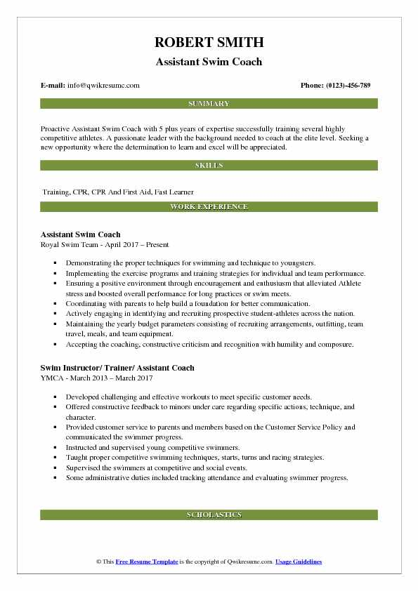 Assistant Swim Coach Resume Example