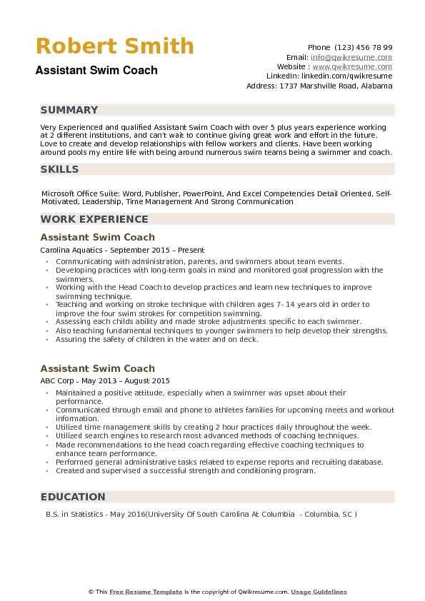assistant swim coach resume samples