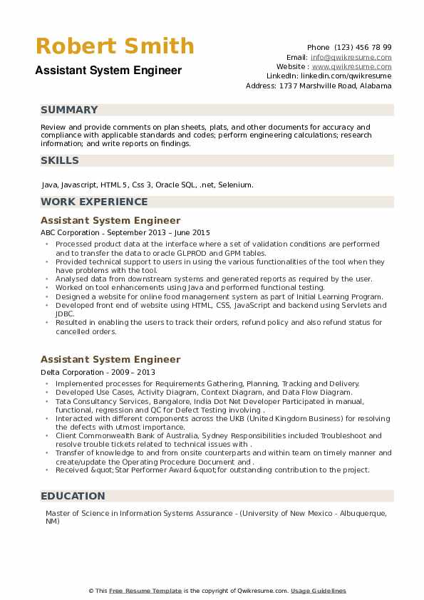 Assistant System Engineer Resume example