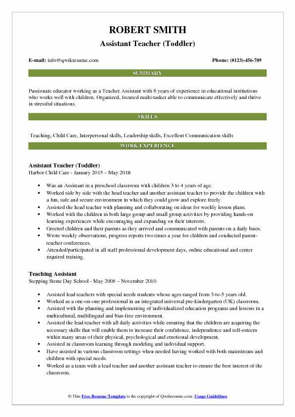 Assistant Teacher (Toddler) Resume Format