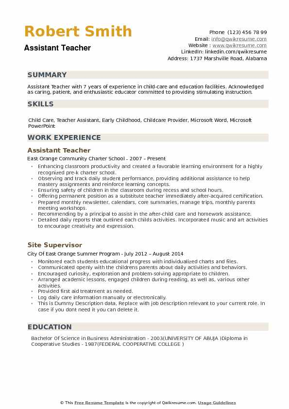 Assistant Teacher Resume Samples Qwikresume