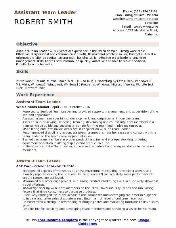 assistant team leader resume samples