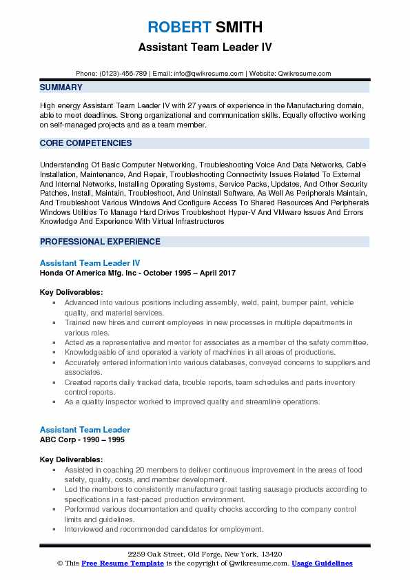 Assistant Team Leader IV Resume Example