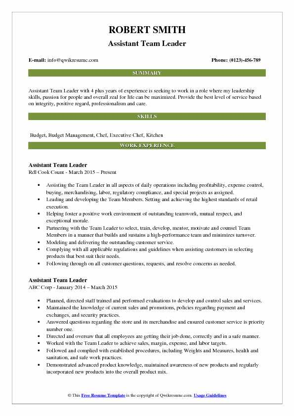 Assistant Team Leader Resume Samples | QwikResume