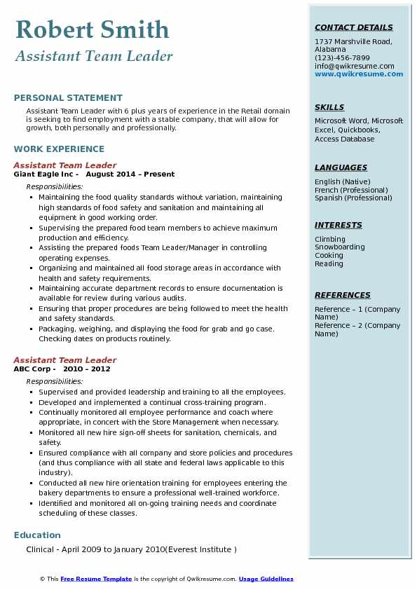 Assistant Team Leader Resume Example