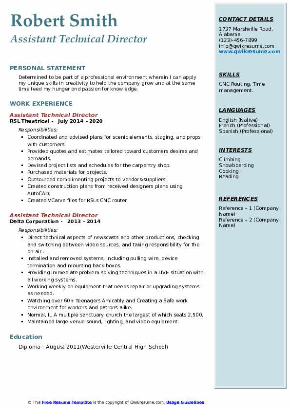 assistant technical director resume samples