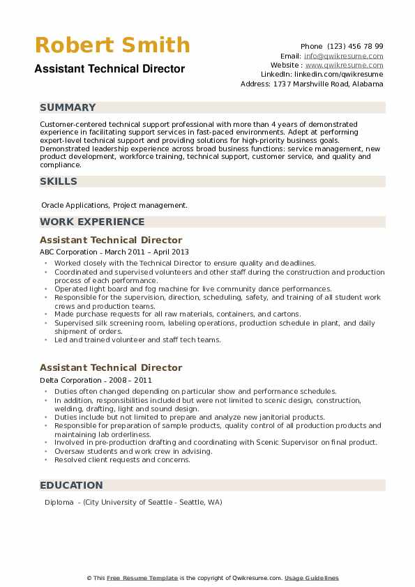 Assistant Technical Director Resume example