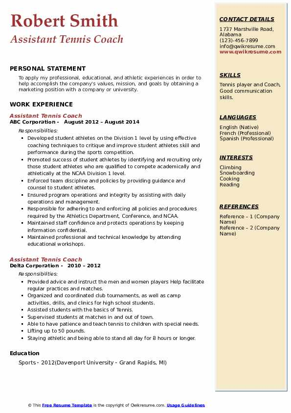 assistant tennis coach resume samples  qwikresume