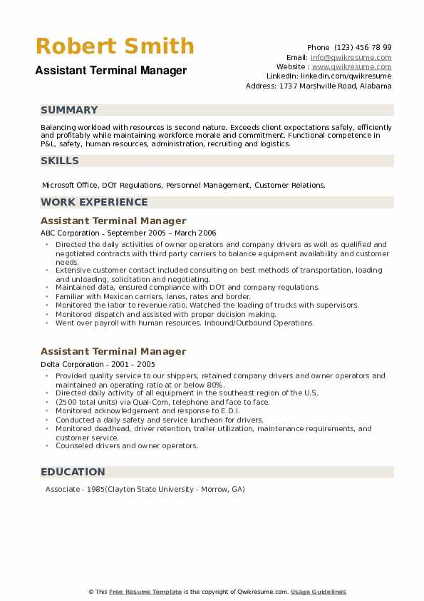 Assistant Terminal Manager Resume example