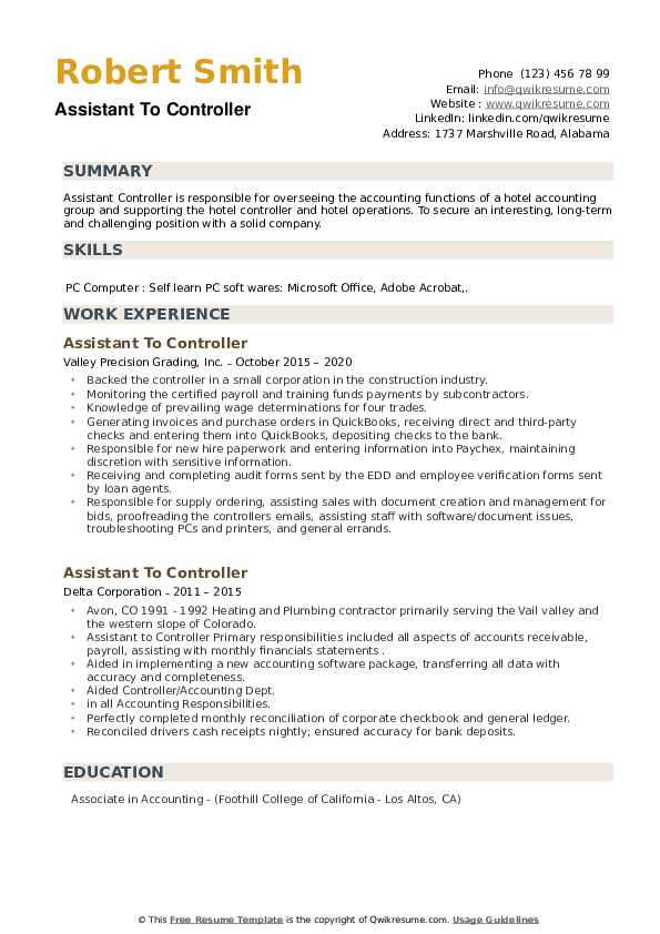 Assistant To Controller Resume example