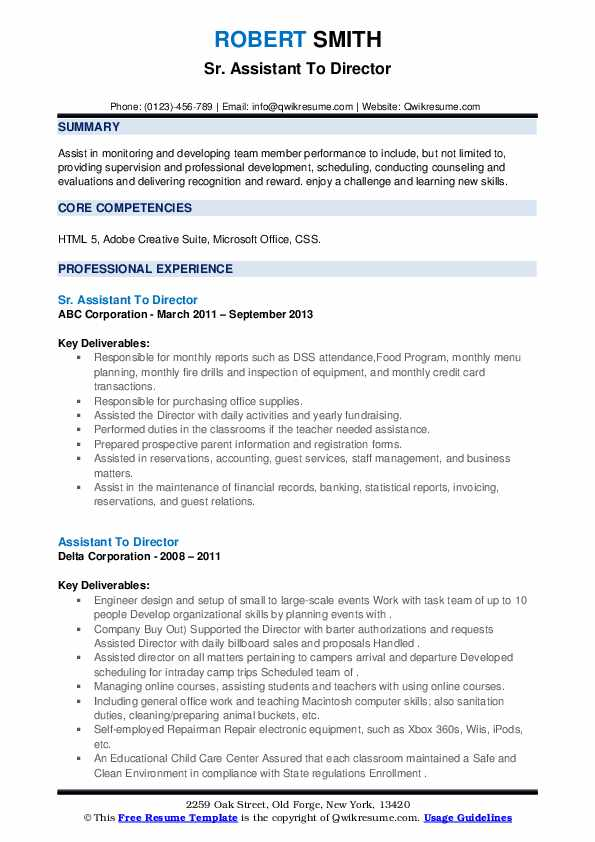 assistant to director resume samples