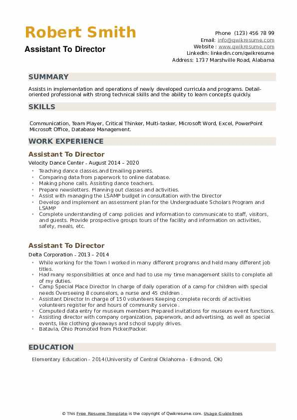 Assistant To Director Resume example