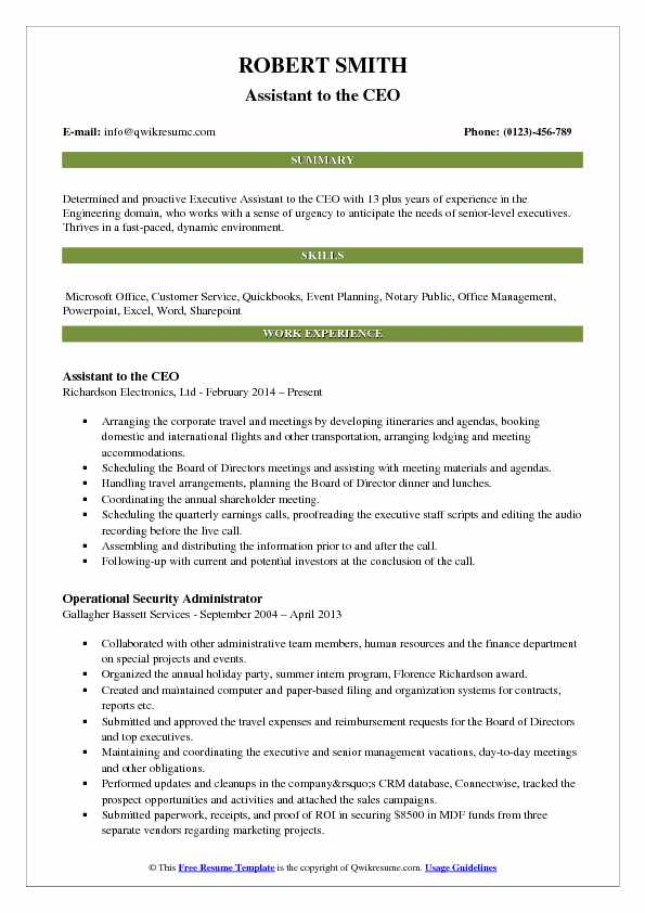 Assistant to the CEO Resume Format
