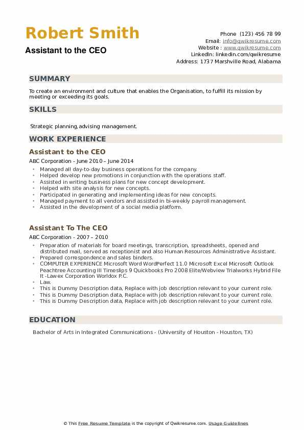 Assistant To The CEO Resume example