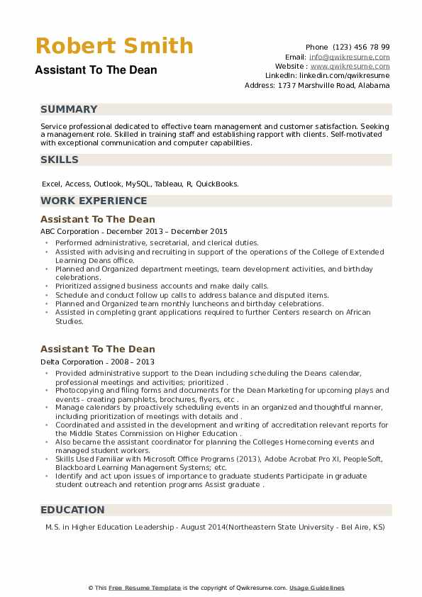 Assistant To The Dean Resume example