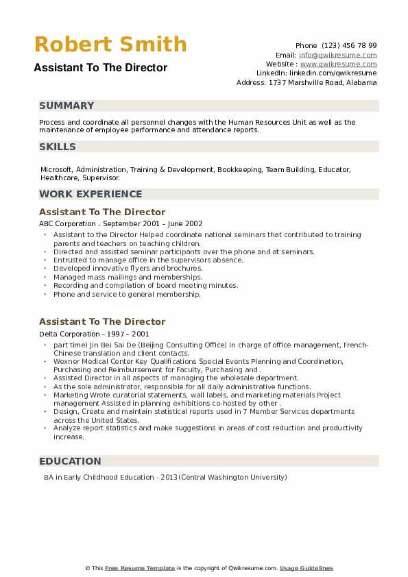 Assistant To The Director Resume example