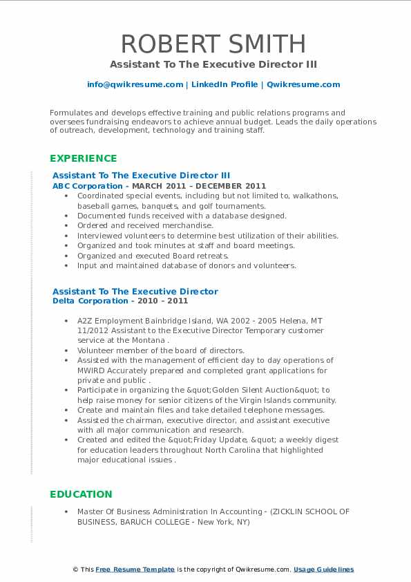 assistant to the executive director resume samples