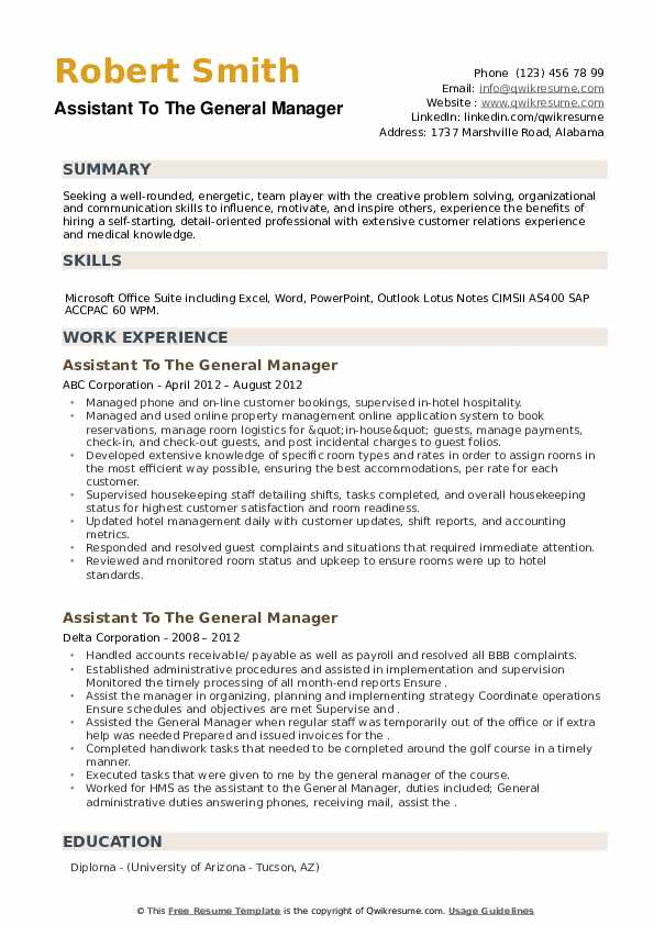 Assistant To The General Manager Resume example