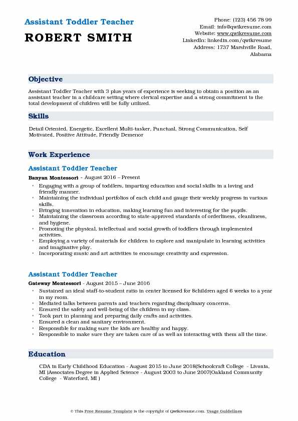 Assistant Toddler Teacher Resume Model