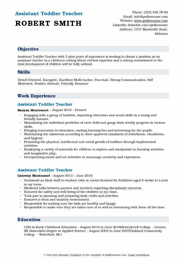 Assistant Toddler Teacher Resume Format