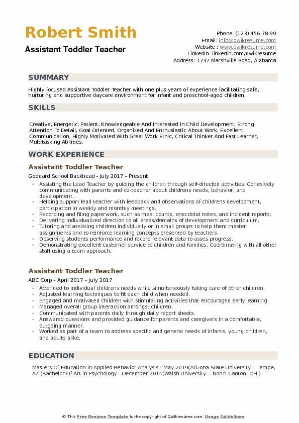 Assistant Toddler Teacher Resume example