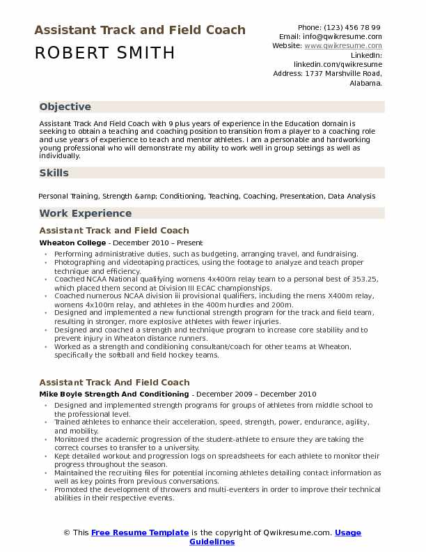 Assistant Track And Field Coach Resume Example