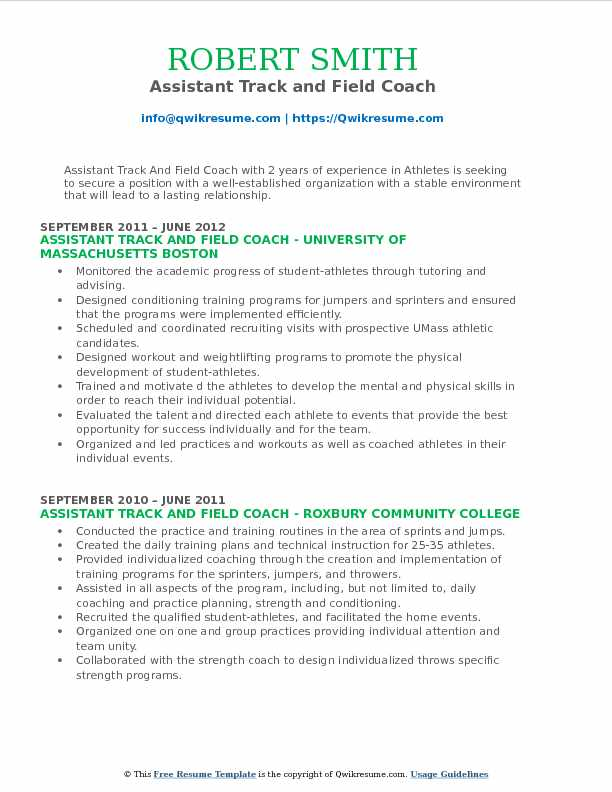 Assistant Track and Field Coach Resume Sample