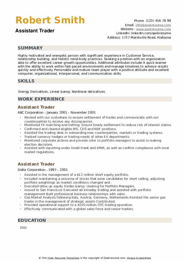 Assistant Trader Resume example