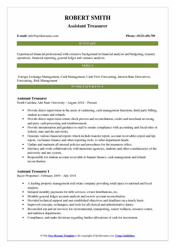 assistant treasurer resume samples