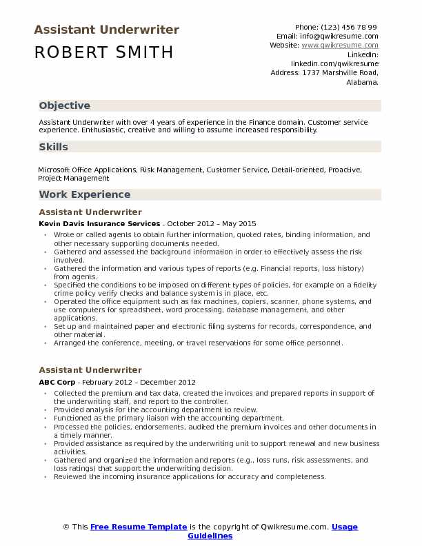 Assistant Underwriter Resume Template