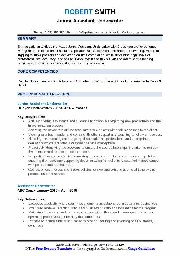 Junior Assistant Underwriter Resume Example
