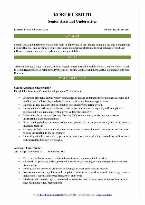 Senior Assistant Underwriter Resume Sample
