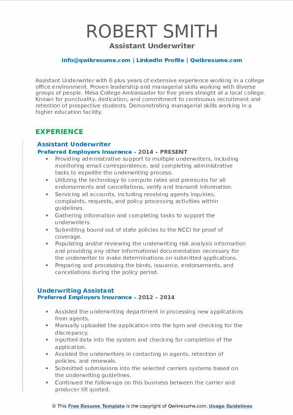 Assistant Underwriter Resume Samples Qwikresume