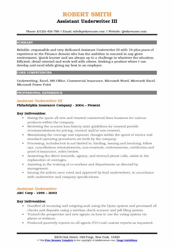 Assistant Underwriter III Resume Model