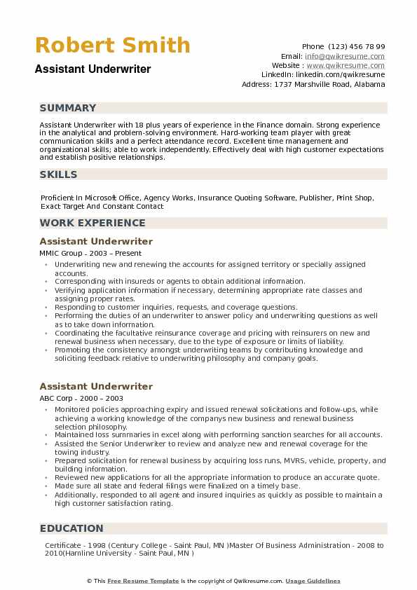 Assistant Underwriter Resume example