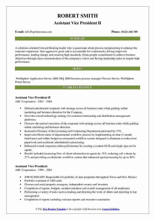 Assistant Vice President II Resume Template