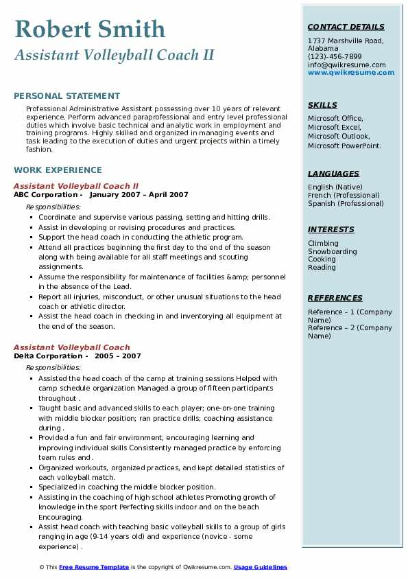 assistant volleyball coach resume samples